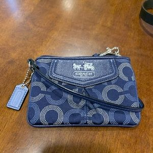 Blue and white authentic Coach Wristlet